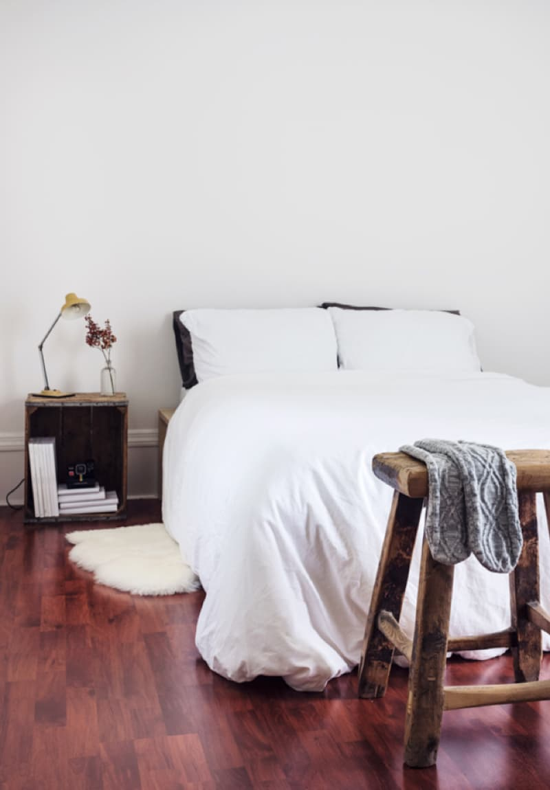 Bed and nightstand at the home hubs